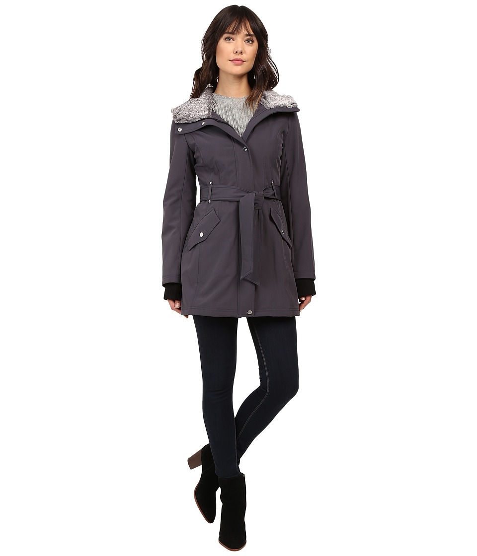 Jessica Simpson - Faux Fur Lined Hood Belted Softshell (Steel) Women's Coat