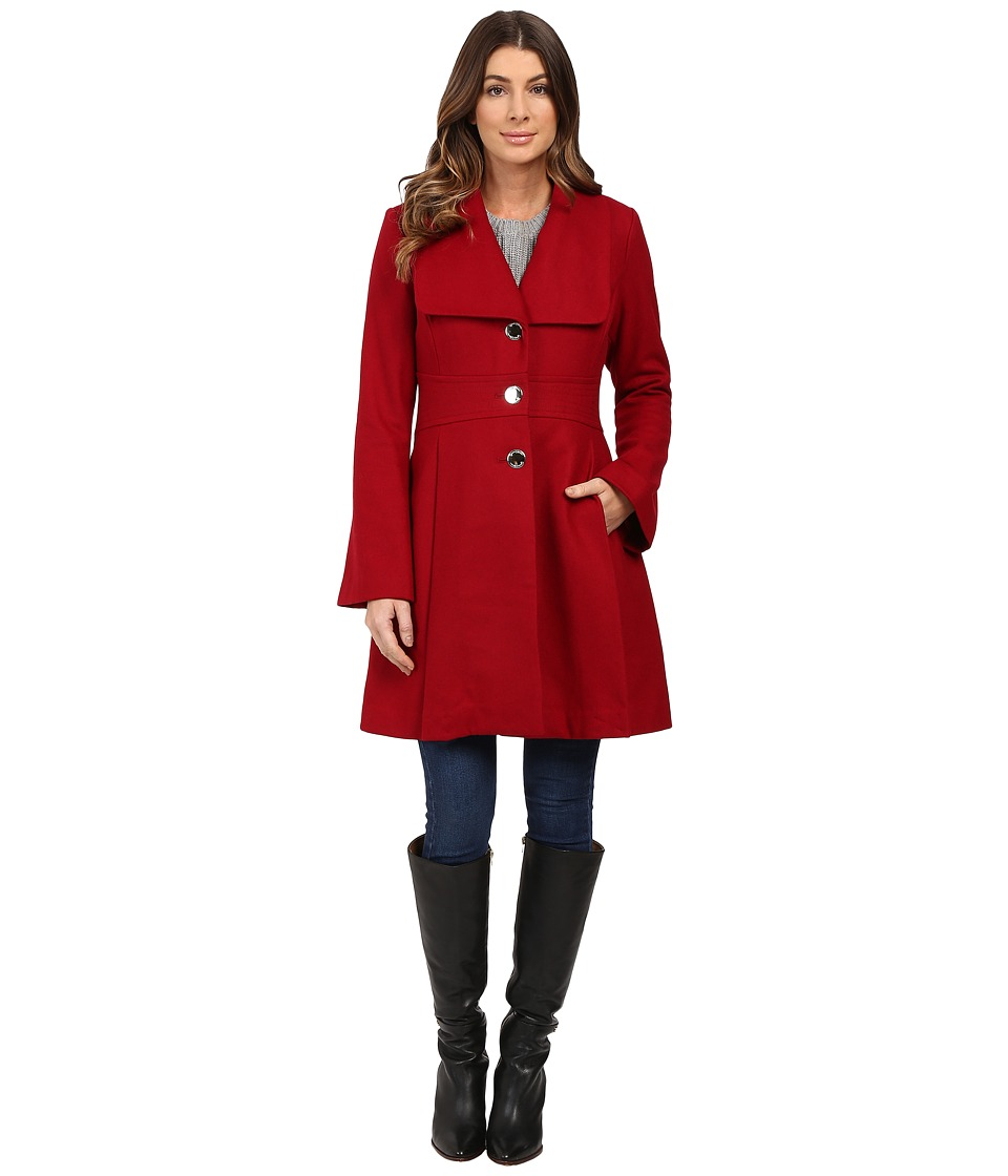 Jessica Simpson - Melton Bell Sleeve with Waist Detail (Red) Women's Coat