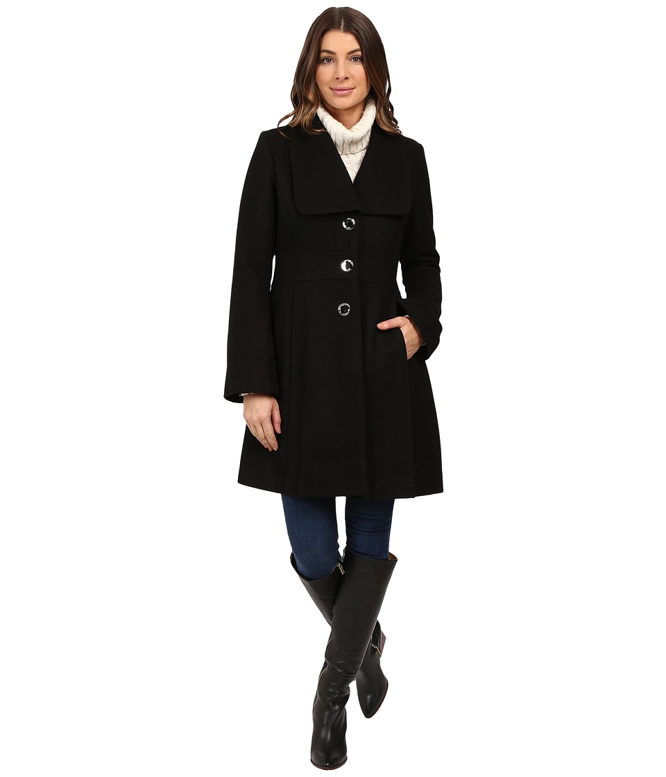Jessica Simpson - Melton Bell Sleeve with Waist Detail (Black) Women's Coat