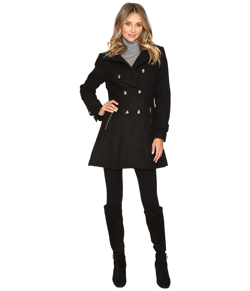 Jessica Simpson - Military Double Breasted Braided Wool (Black) Women's Coat