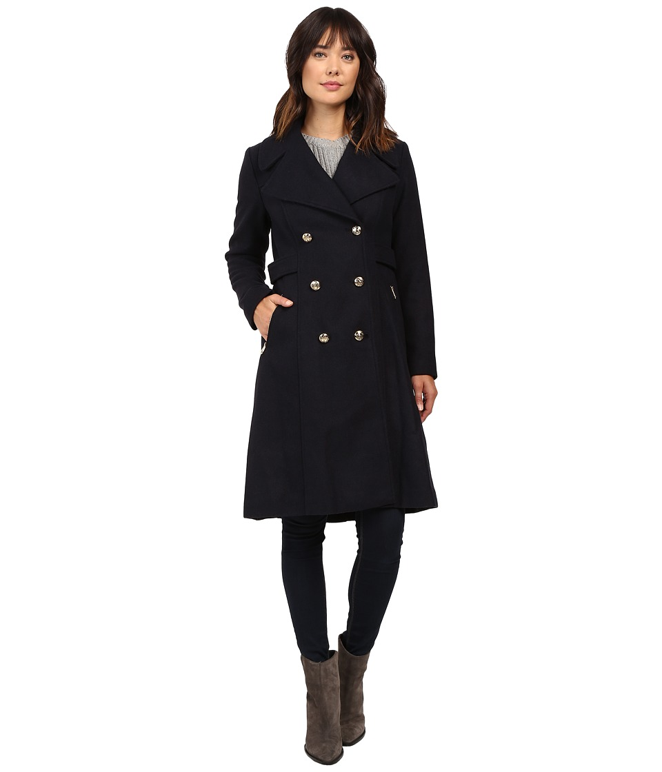 Jessica Simpson - Double Breaster Military Duster (Navy) Women's Coat