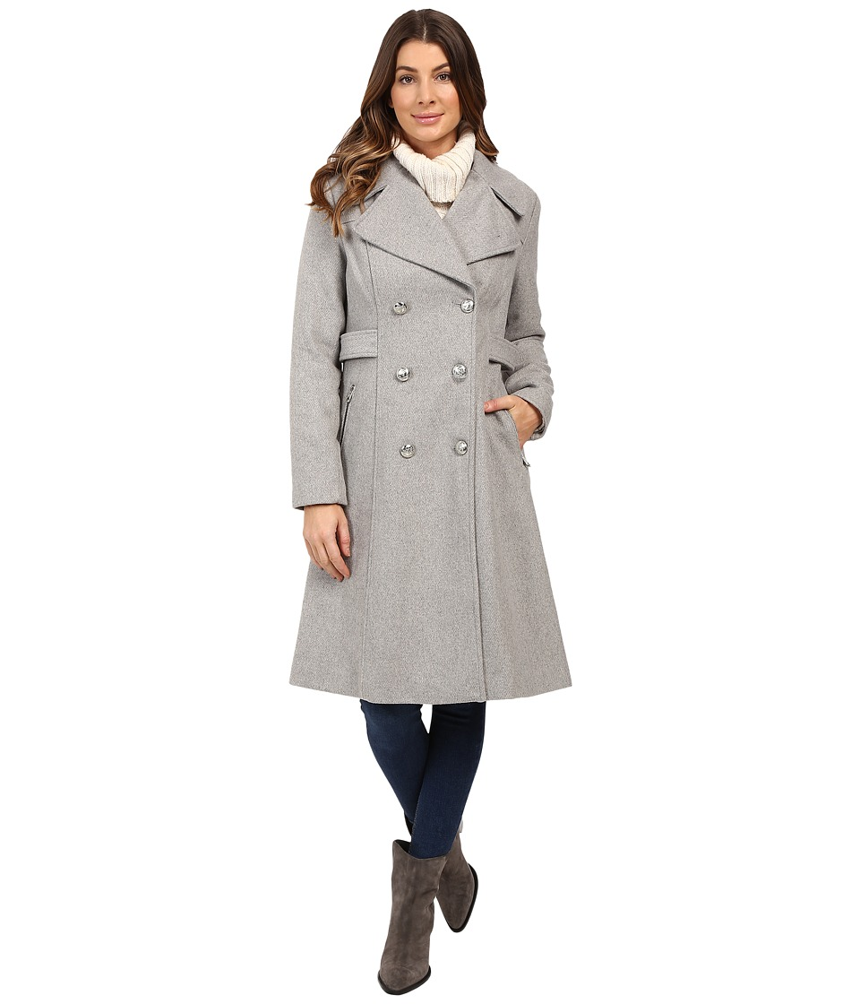 Jessica Simpson - Double Breaster Military Duster (Heather Grey) Women's Coat
