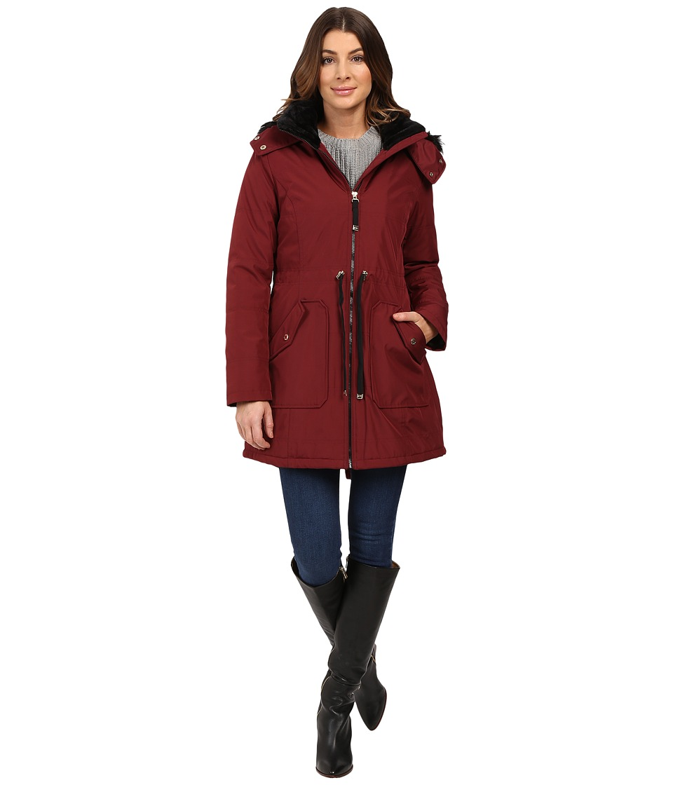 Jessica Simpson - Quilted Fill Puffer w/ Drawstrings Hood and Removable Faux Fur (Wine) Women's Coat
