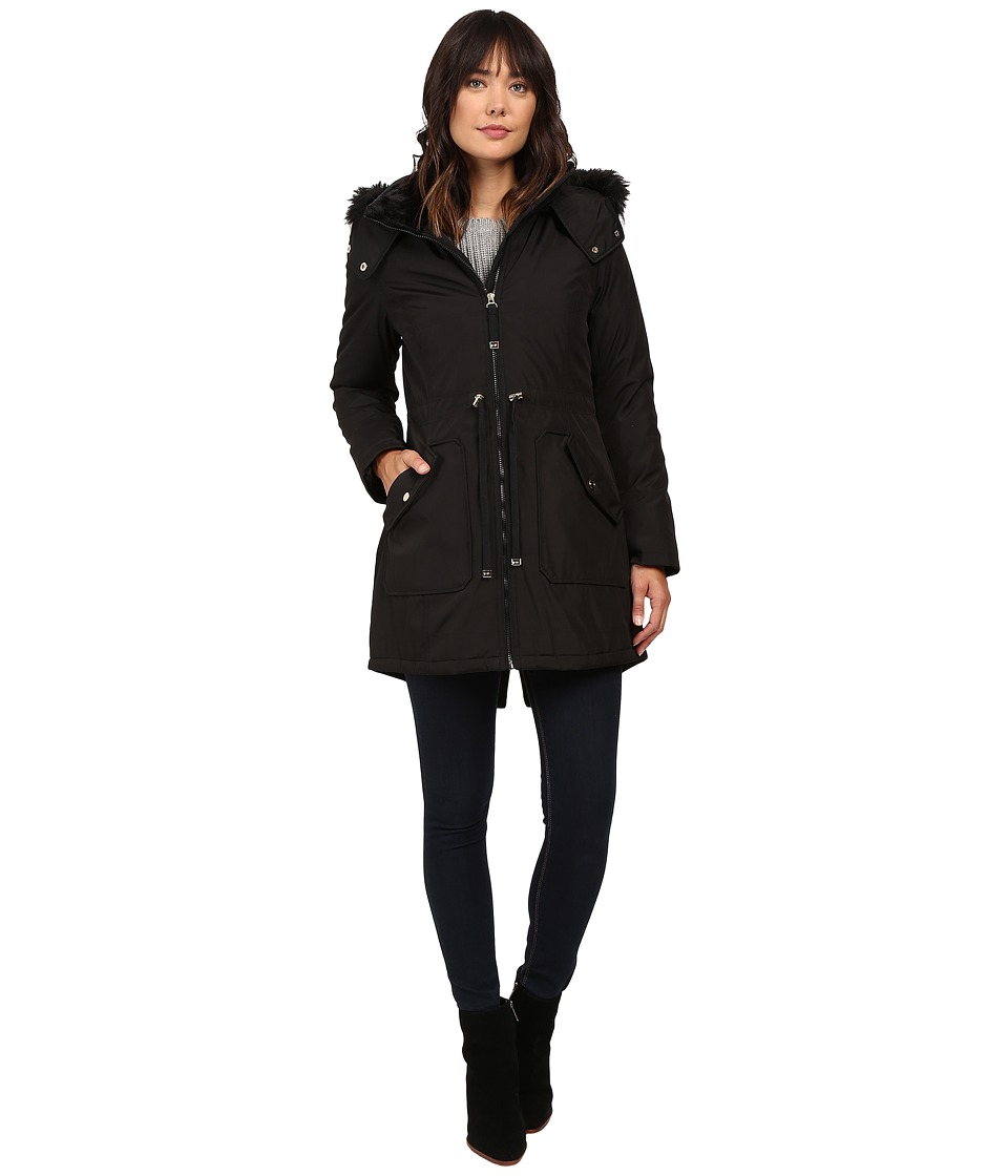 Jessica Simpson - Quilted Fill Puffer w/ Drawstrings Hood and Removable Faux Fur (Black) Women's Coat