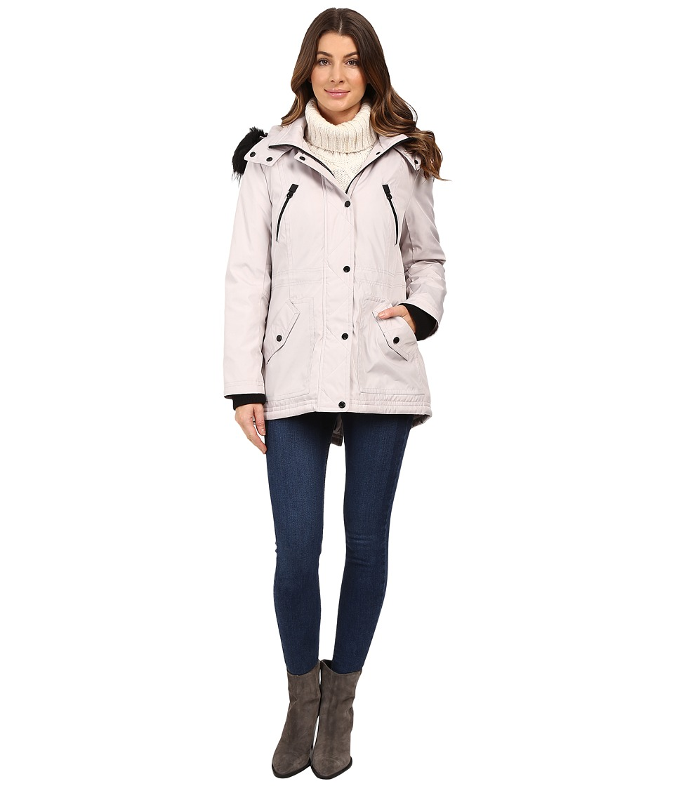 Jessica Simpson - Anorak Quilted Bonded w/ Hood and Faux Fur (Silver) Women's Coat