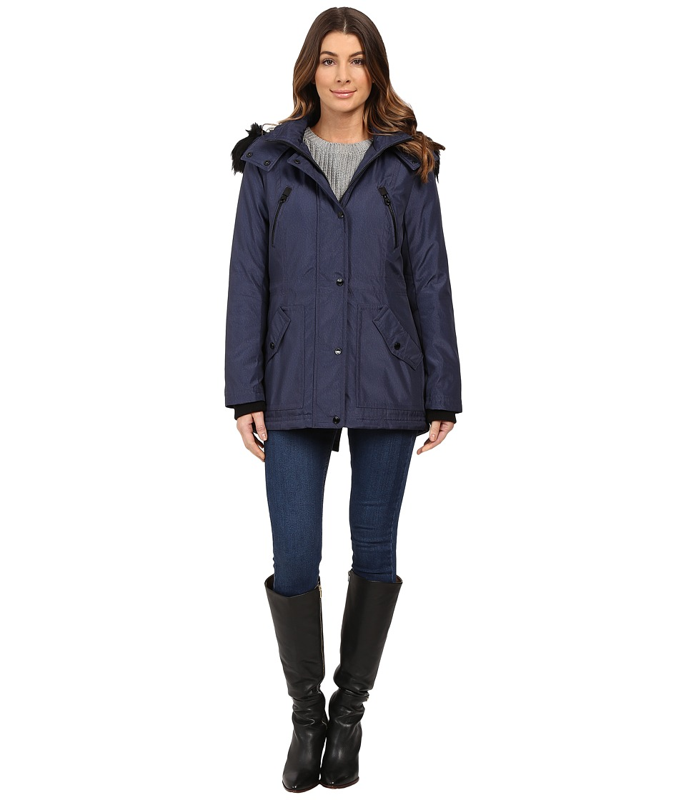 Jessica Simpson - Anorak Quilted Bonded w/ Hood and Faux Fur (Indigo) Women's Coat