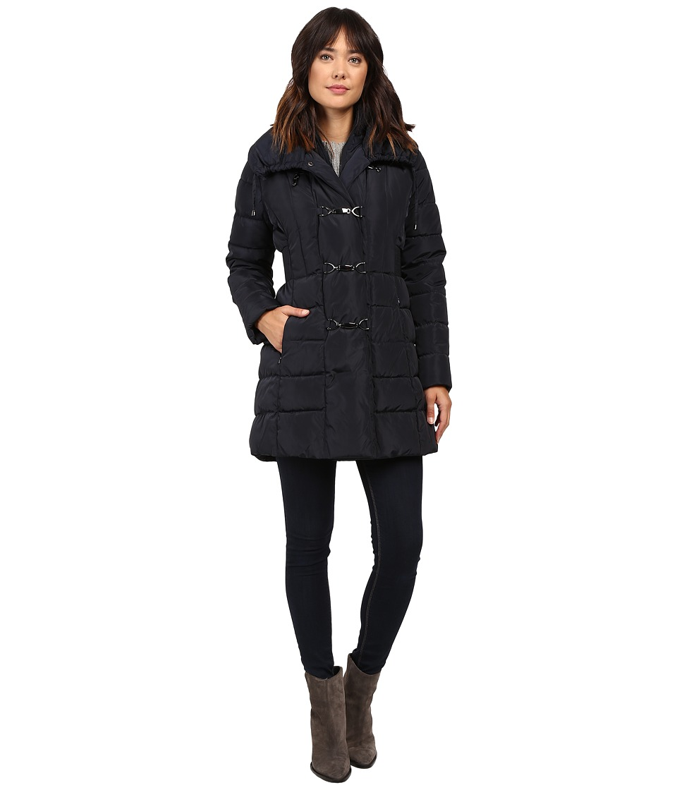 Jessica Simpson - Three Clasp Breasted Down with Pillow Collar (Navy) Women's Coat
