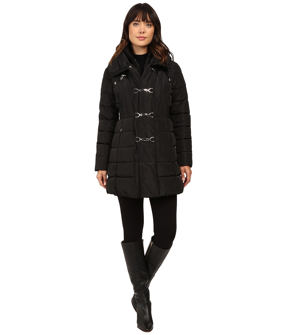 Jessica Simpson - Three Clasp Breasted Down with Pillow Collar (Black) Women's Coat