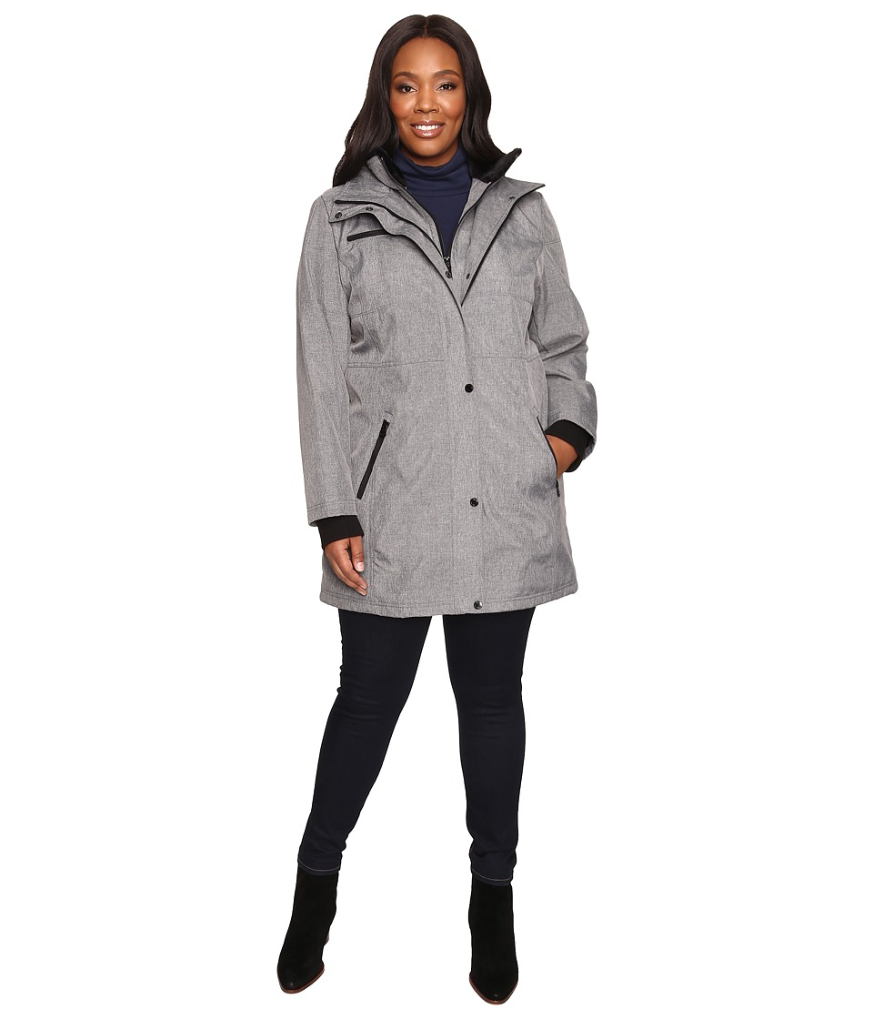 Jessica Simpson - Plus Size Softshell with Bib and Faux Fur Collar (Heather Grey) Women's Coat
