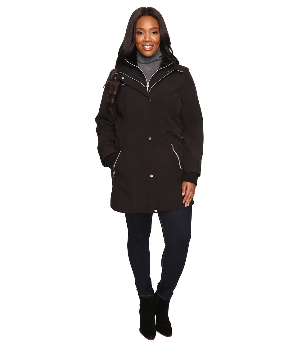 Jessica Simpson - Plus Size Softshell with Bib and Faux Fur Collar (Black) Women's Coat