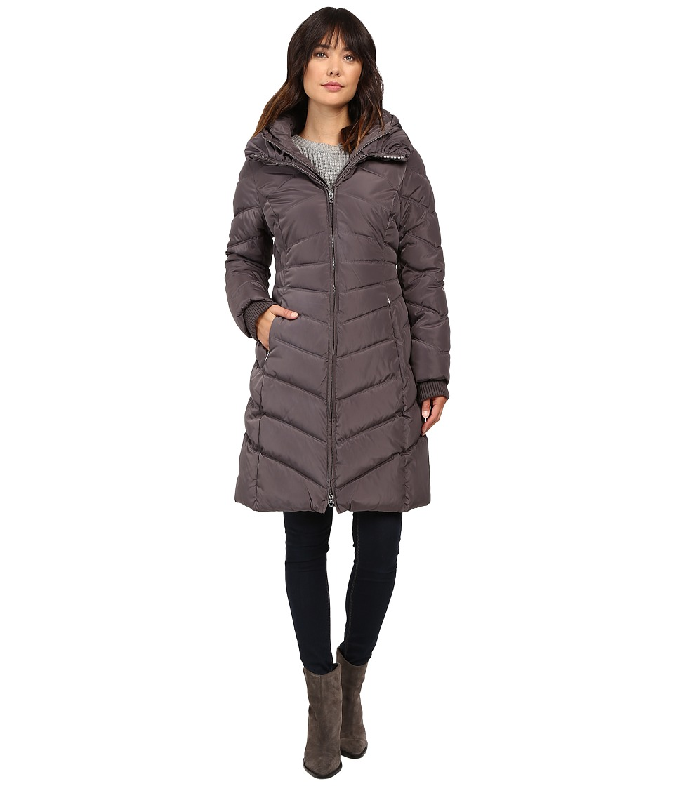 Jessica Simpson - Chevron Quilted Down with Hood (Charcoal) Women's Coat