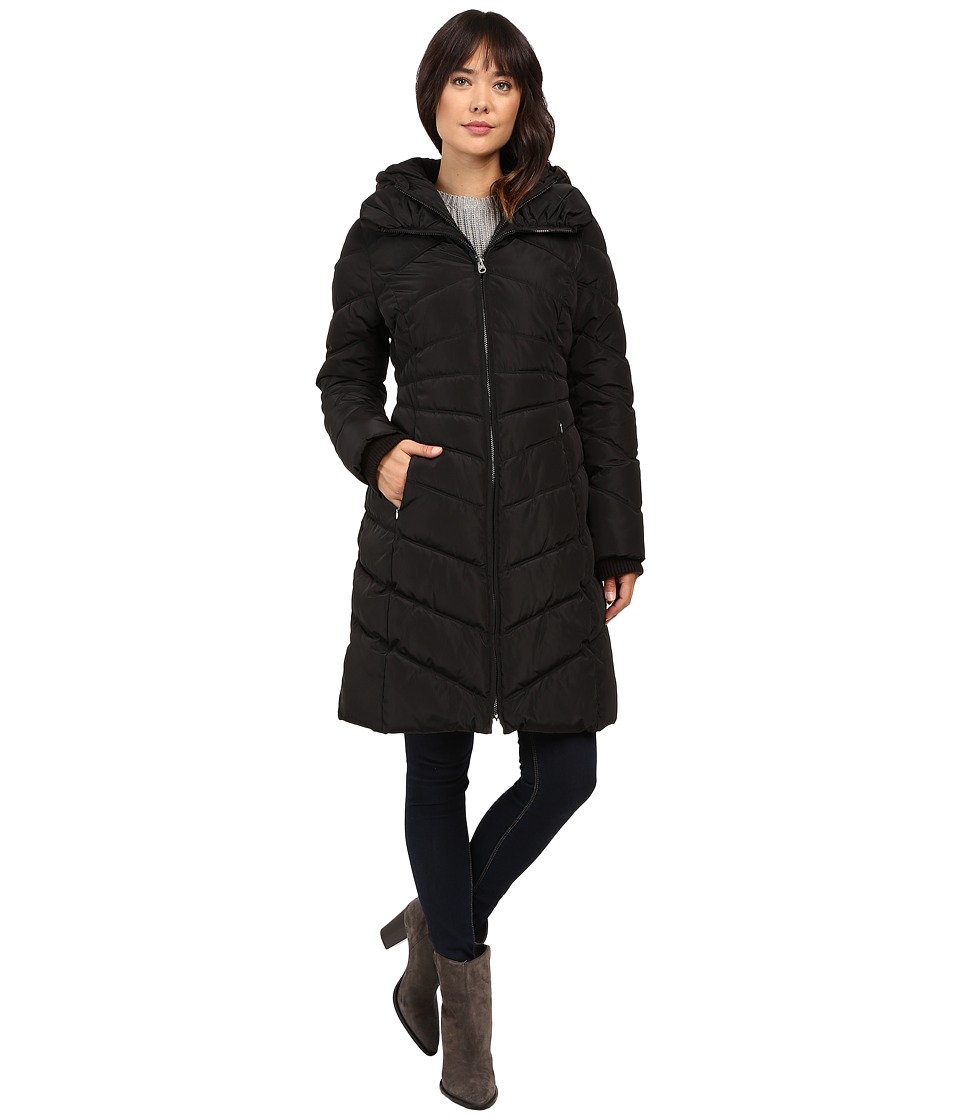 Jessica Simpson - Chevron Quilted Down with Hood (Black) Women's Coat
