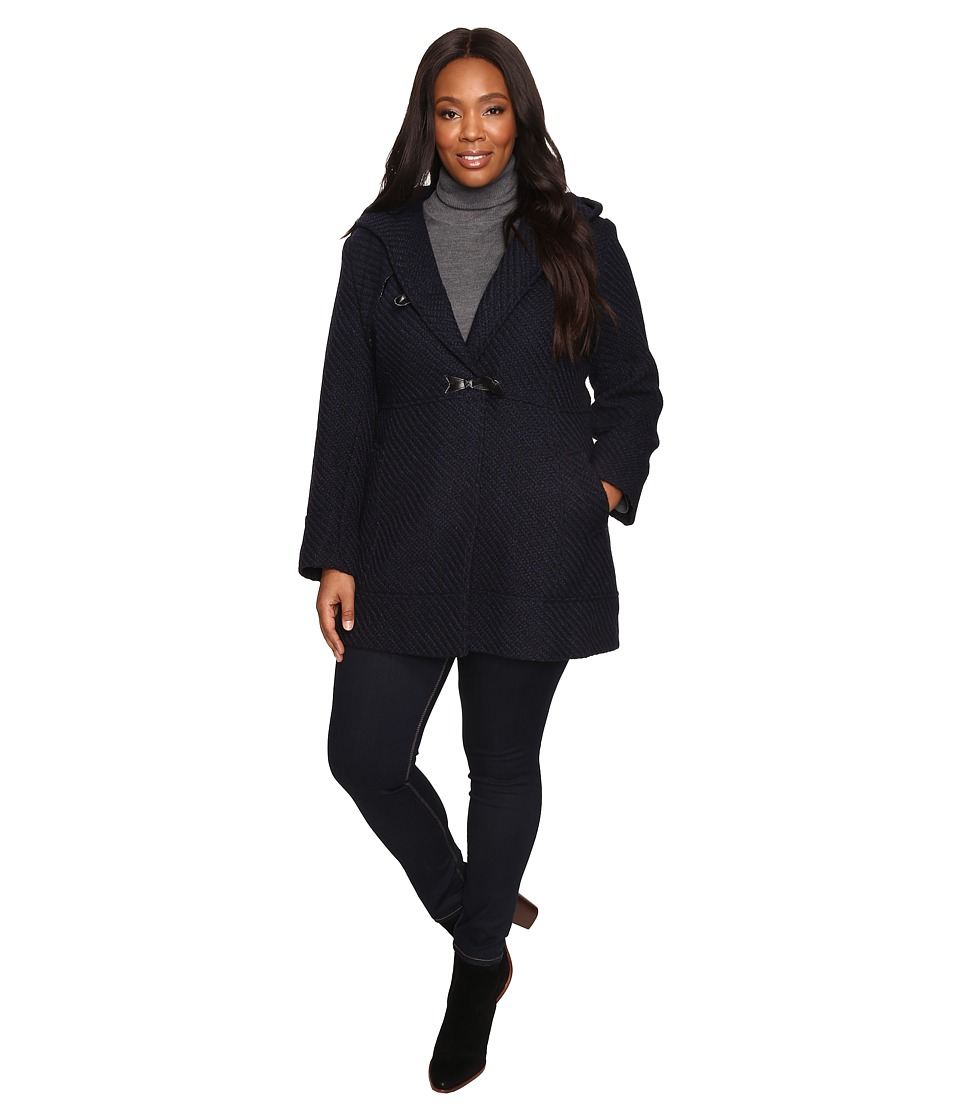 Jessica Simpson - Plus Size Braided Wool Duffle Coat (Navy) Women's Coat