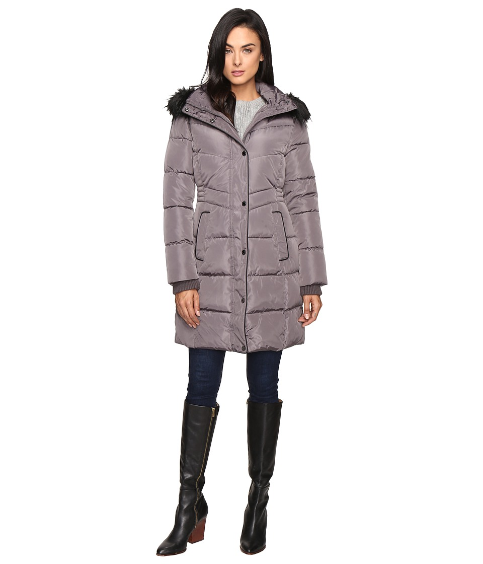Jessica Simpson - Long Puffer w/ Waist Detail Hood and Faux Fur (Charcoal) Women's Coat