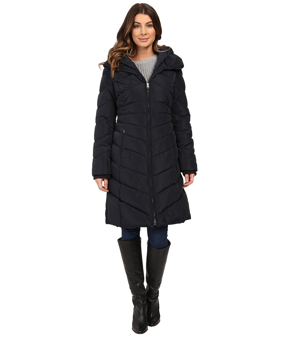 Jessica Simpson - Chevron Quilted Down with Hood (Navy) Women's Coat