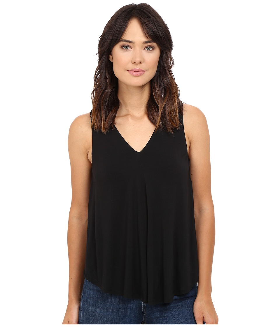 HEATHER - V-Neck Swing Tank Top (Black) Women's Sleeveless