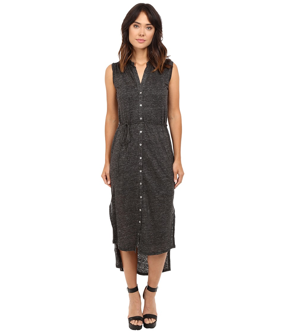 HEATHER - Linen Maxi Shirtdress (Heather Charcoal) Women'...