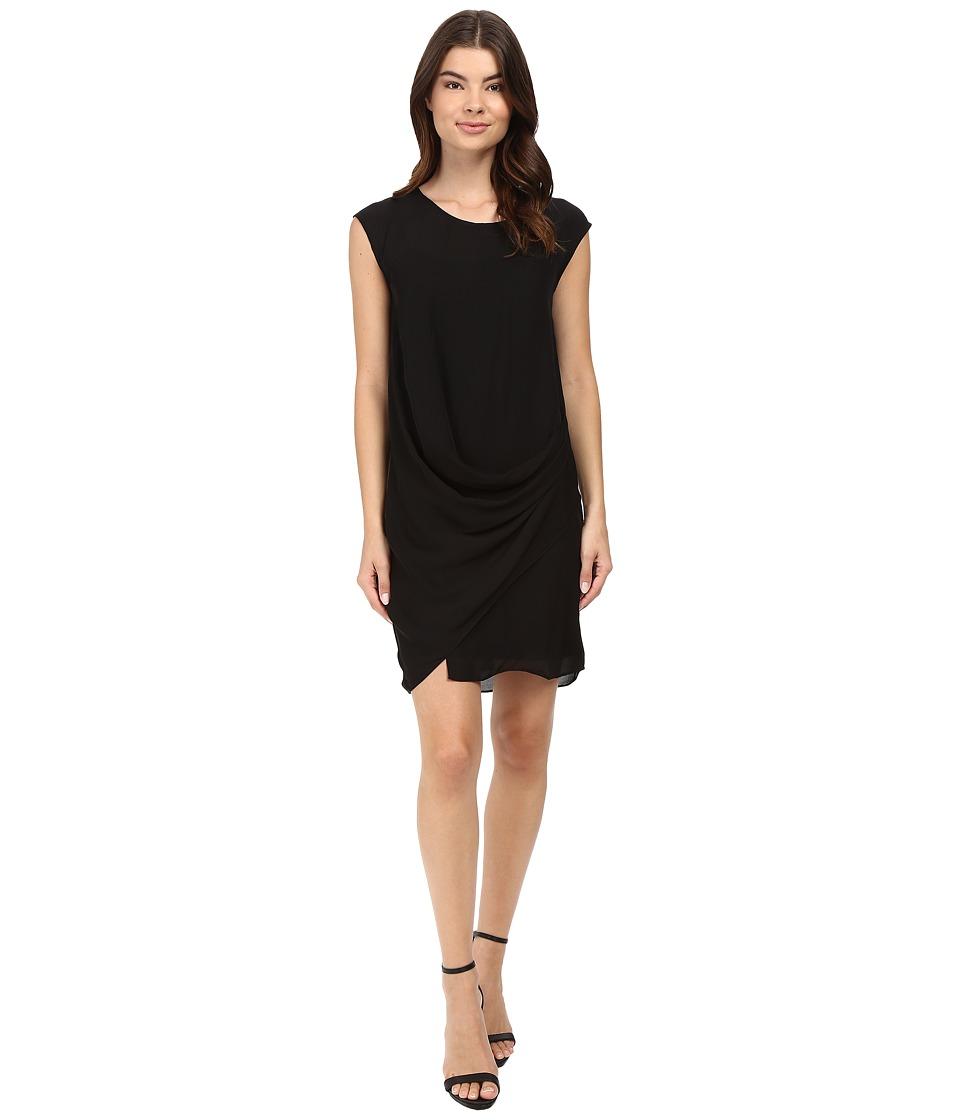 HEATHER Silk Layered Asymmetrical Dress (Black) Women