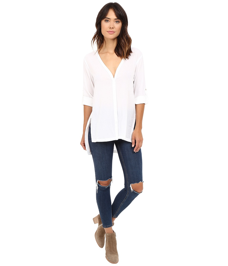 HEATHER - Gauze Button Down (White) Women's Clothing