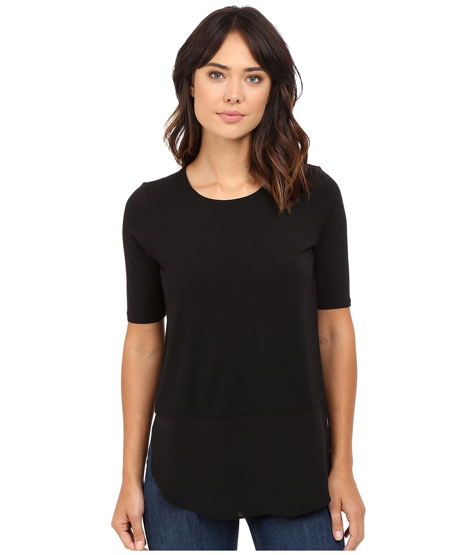 HEATHER - Silk Round Hem 3/4 Sleeve Top (Black) Women's Clothing
