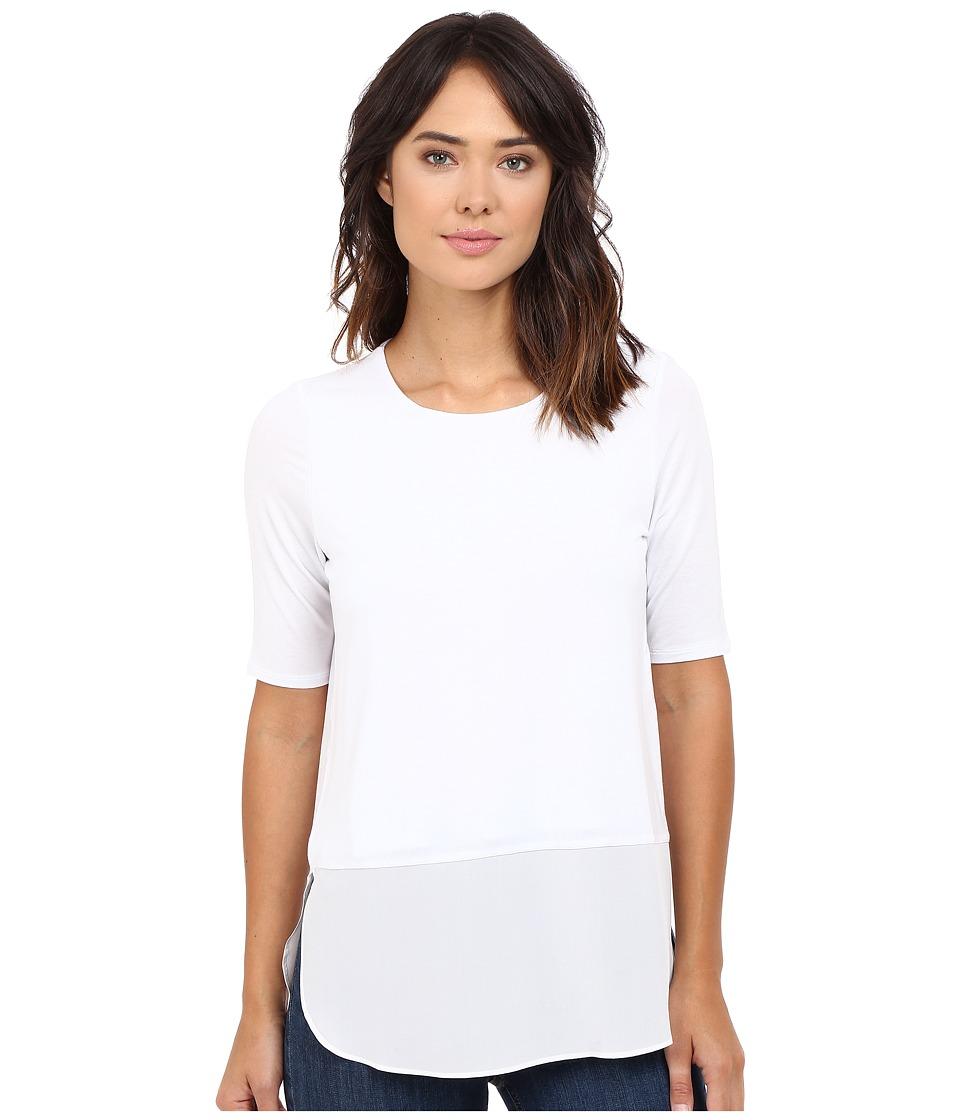 HEATHER - Silk Round Hem 3/4 Sleeve Top (White) Women's Clothing