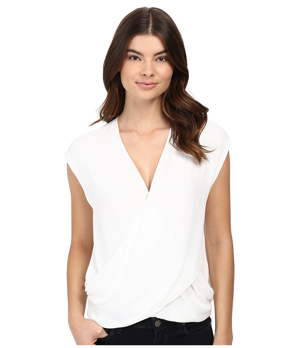HEATHER - Silk Cross Front Top (White) Women's Sleeveless