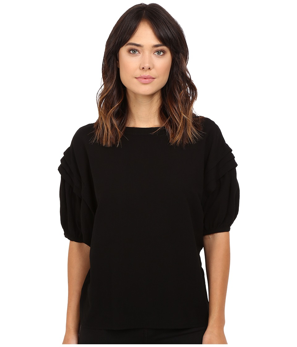 HEATHER - Gauze Pleat Sleeve Blouse (Black) Women's Blouse