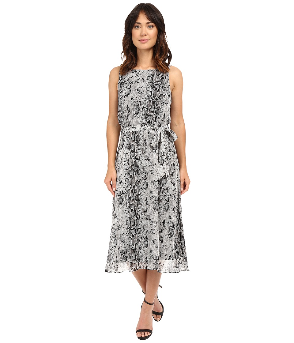 Christin Michaels - Turin Midi Dress w/ Belt Tie (Black/Grey) Women's Dress