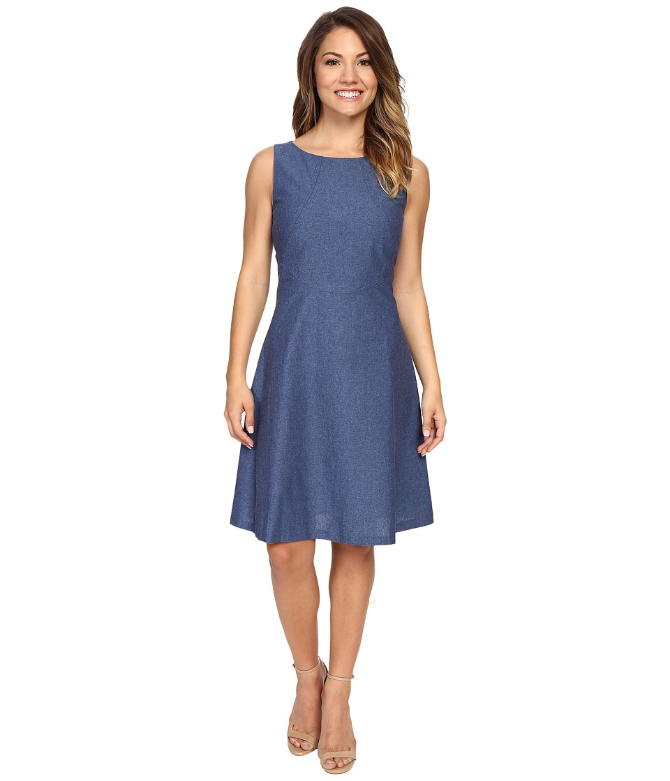Tahari by ASL Petite - Petite Denim Seamed Fit and Flare Dress (Denim Blue) Women's Dress