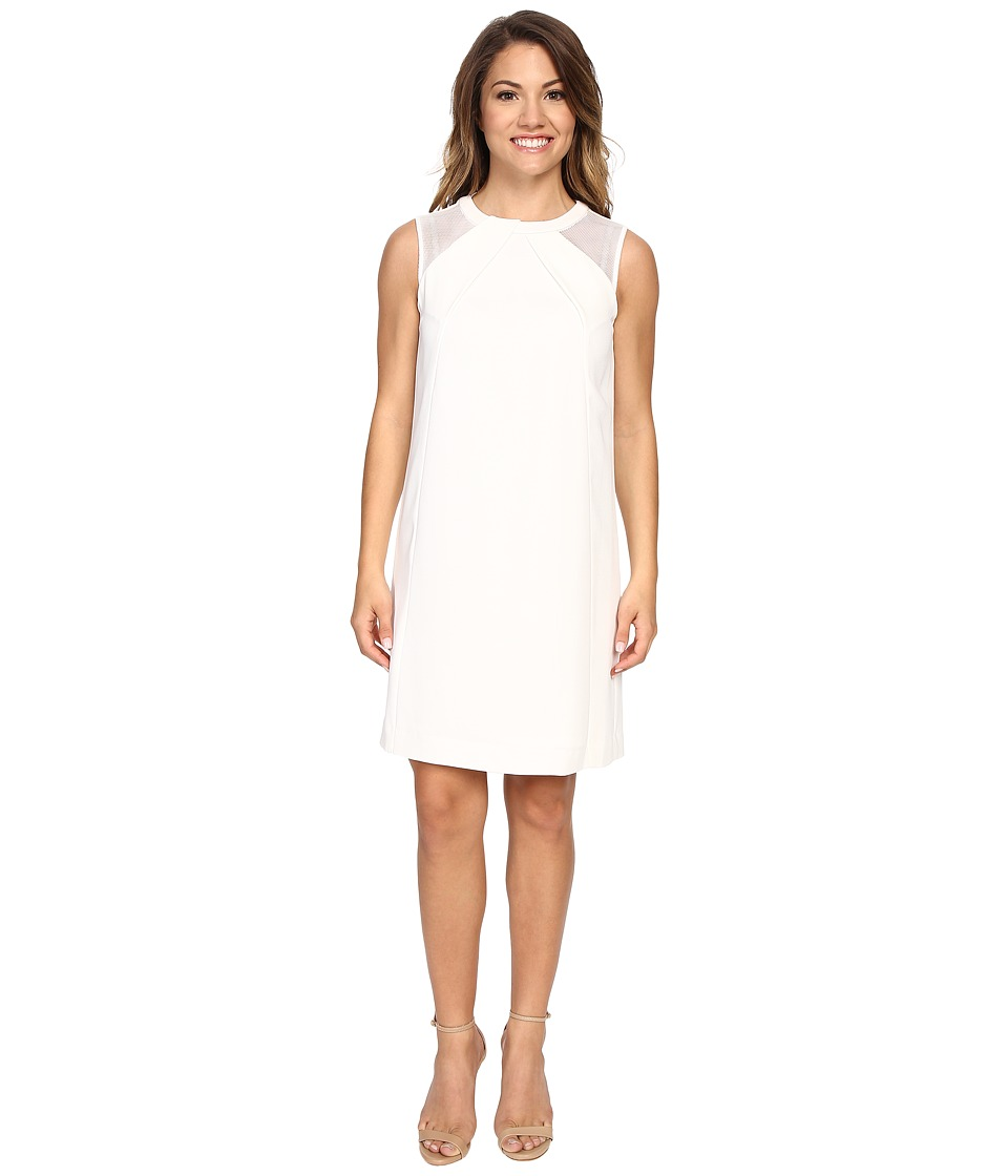 Tahari by ASL Petite - Petite Mesh Shoulder Crepe Shift Dress (Ivory) Women's Dress