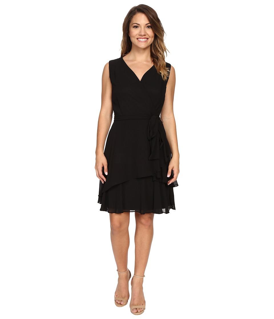 Tahari by ASL Petite - Petite Chiffon Tiered Skirt Dress (Black) Women's Dress