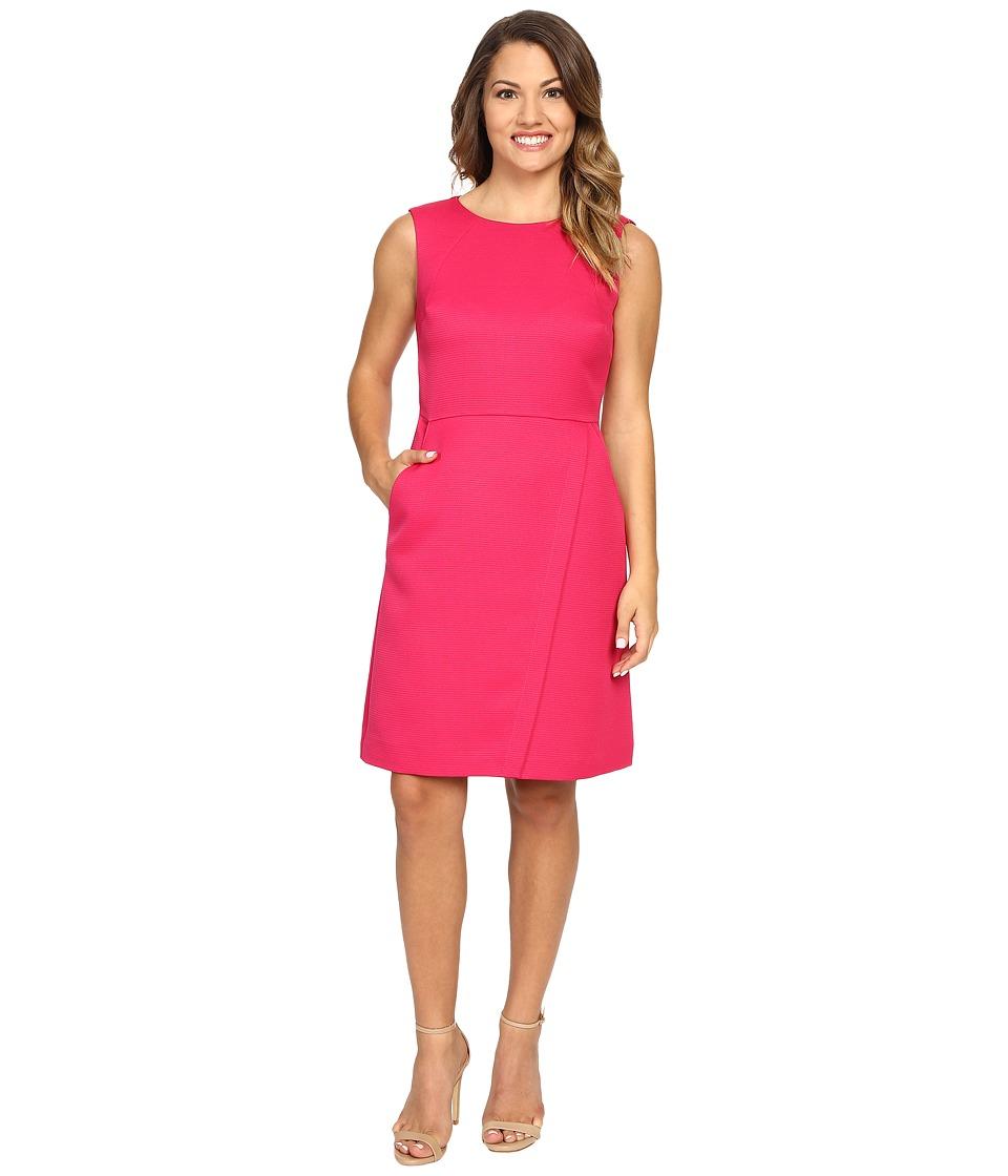 Tahari by ASL Petite - Petite Faille Fold-Over Skirt Dress (Raspberry) Women's Dress