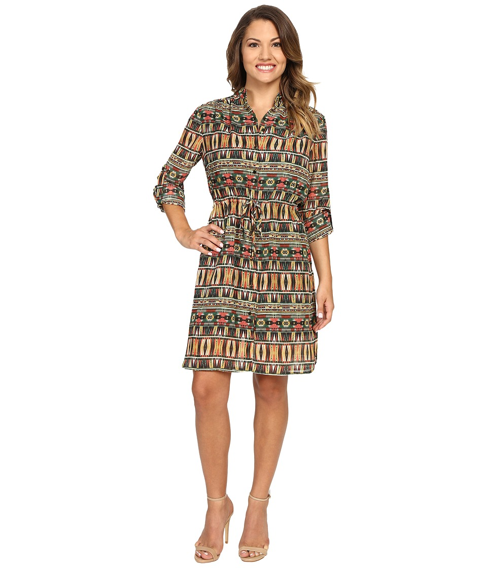 Tahari by ASL Petite - Petite Aztec Printed Shirtdress (Red/Loden/Navy) Women's Dress