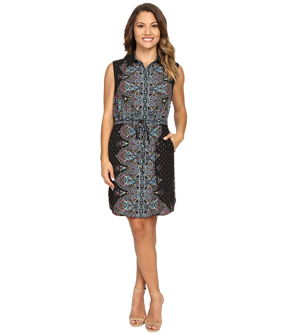 Tahari by ASL Petite - Petite Paisley Sleeveless Shirtdress (Black/Melon/Turquoise) Women's Dress