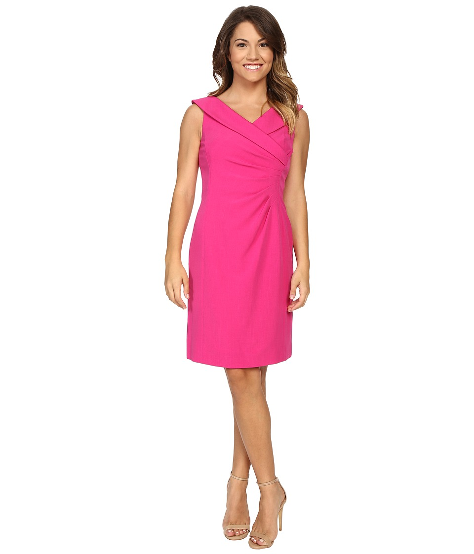 Tahari by ASL Petite - Petite Stretch Crepe Portrait Collar Dress (Fuchsia) Women's Dress
