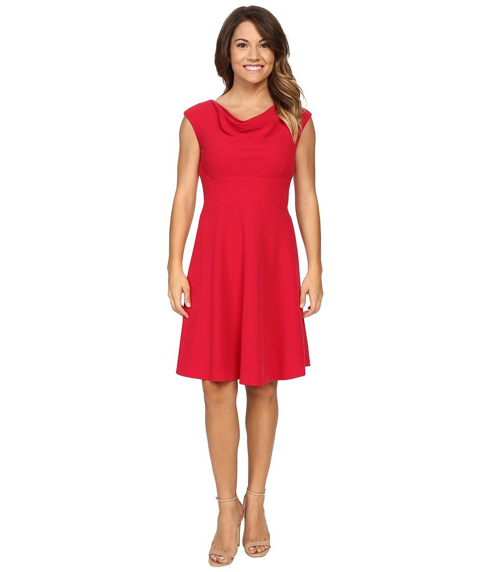 Tahari by ASL Petite - Petite Cowl Neck Stretch Crepe Dress (Raspberry) Women's Dress