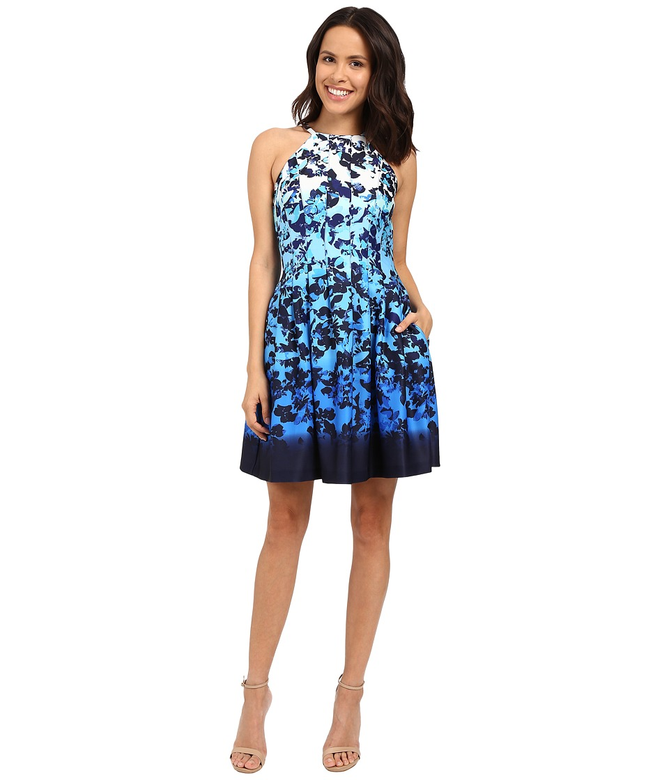 Vince Camuto - Printed Scuba Sleeveless Fit and Flare (Blue) Women's Dress