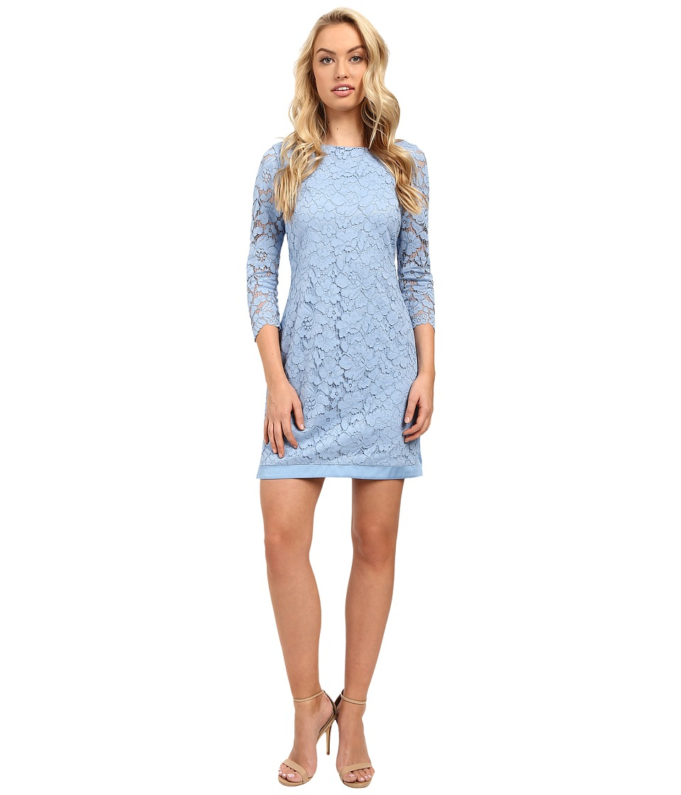 Vince Camuto - Lace 3/4 Sleeve Tee Body with Combo (Light Blue) Women's Dress