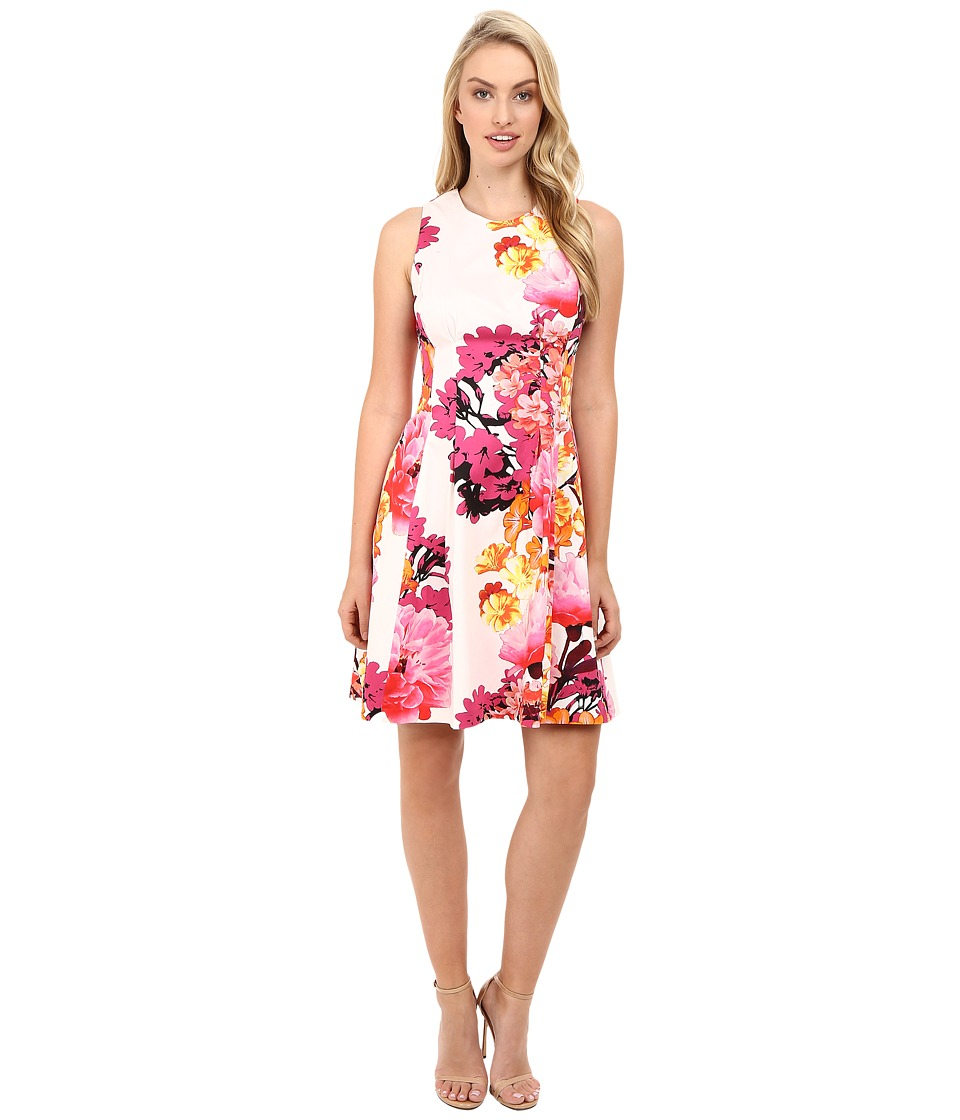 Vince Camuto - Printed Cotton Sateen Sleeveless Fit and Flare w/ Release Pleats (Pink Multi) Women's Dress