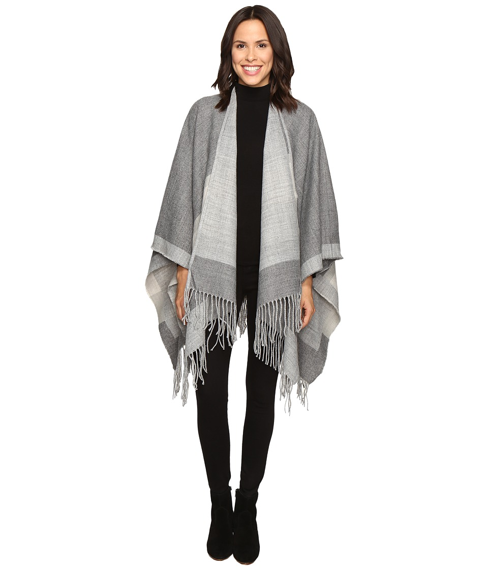 BCBGMAXAZRIA - Color Block Ruana (Glacier Grey) Scarves