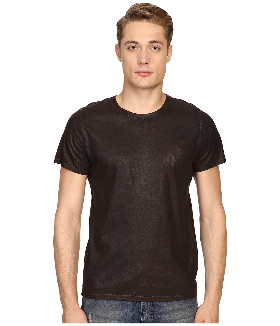 Just Cavalli - Dye Effect Laser Jaquar Skin Effect T-Shirt (Wine) Men's T Shirt