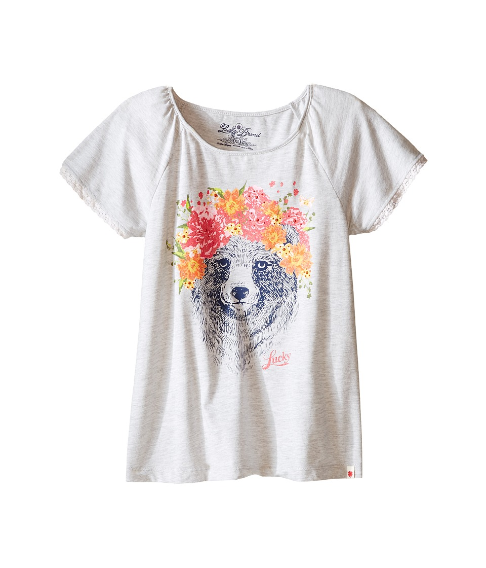 Lucky Brand Kids - Flora Bear Tee (Big Kids) (Light White Heather) Girl's T Shirt