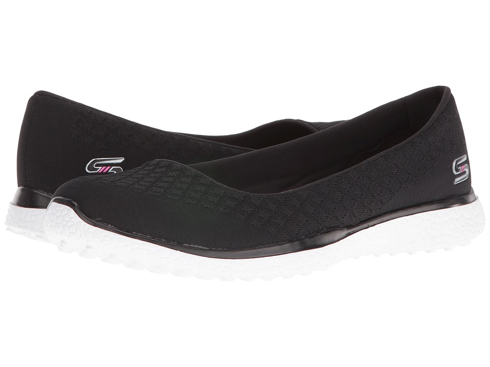 SKECHERS - Microburst - One-Up (Black/White) Women's Slip on Shoes
