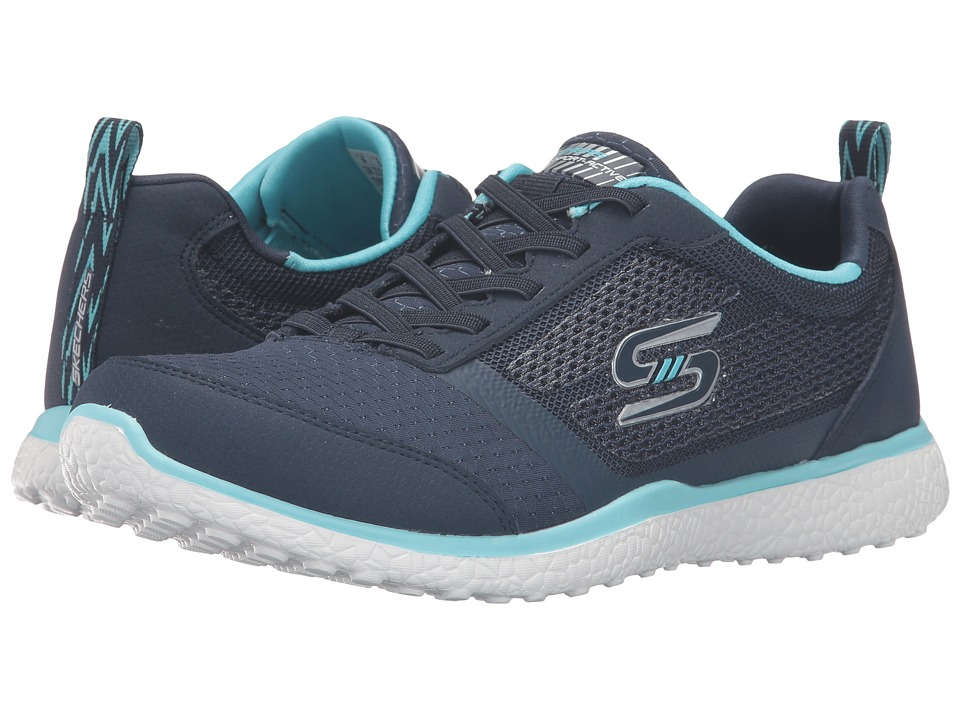 SKECHERS - Microburst - Spirited (Navy/Turquoise) Women's Shoes