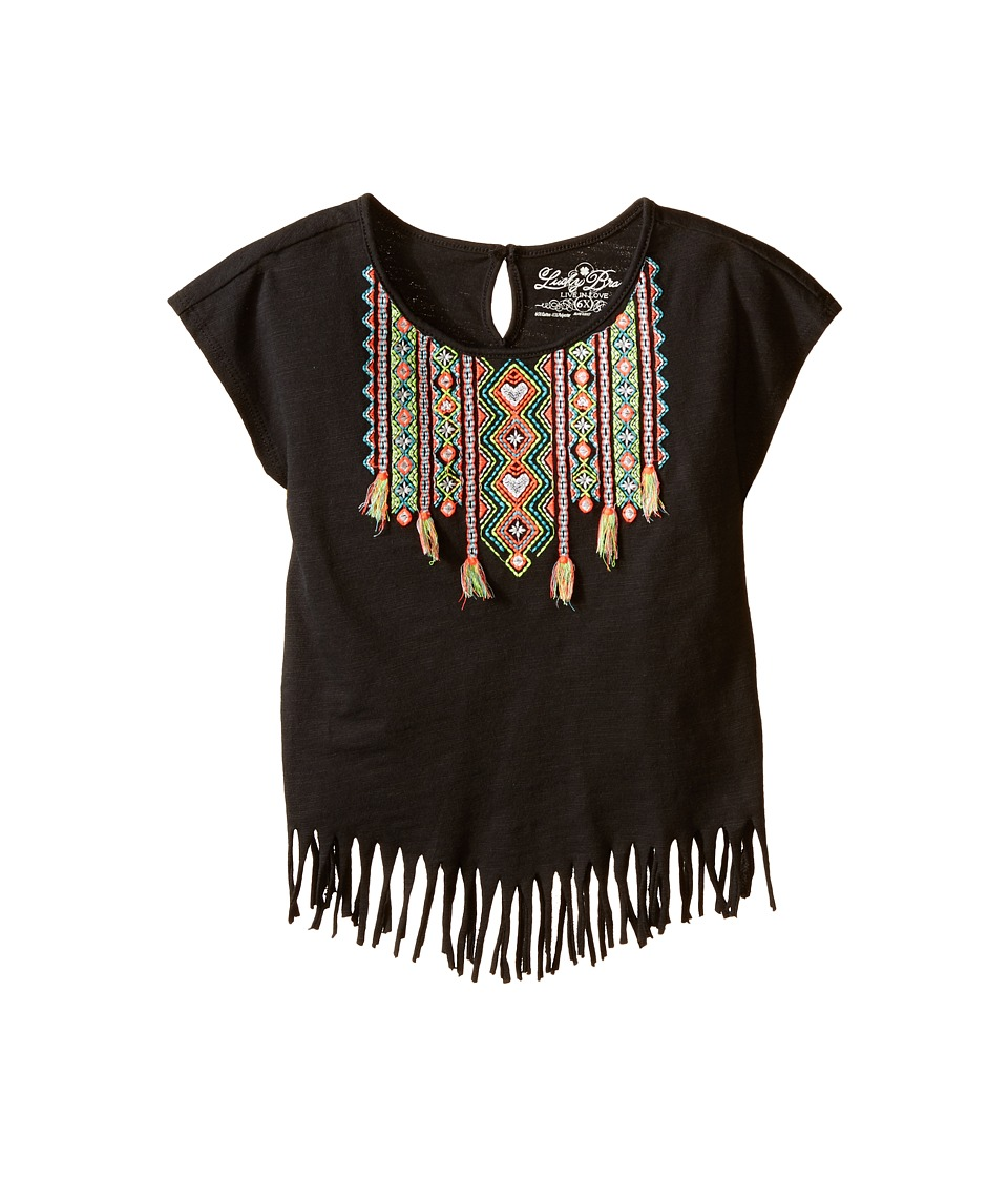 Lucky Brand Kids - Nola Fringe Tee (Little Kids) (Pirate Black) Girl's T Shirt
