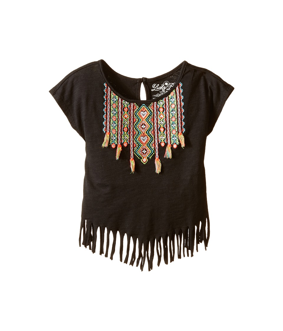 Lucky Brand Kids - Nola Fringe Tee (Toddler) (Pirate Black) Girl's T Shirt
