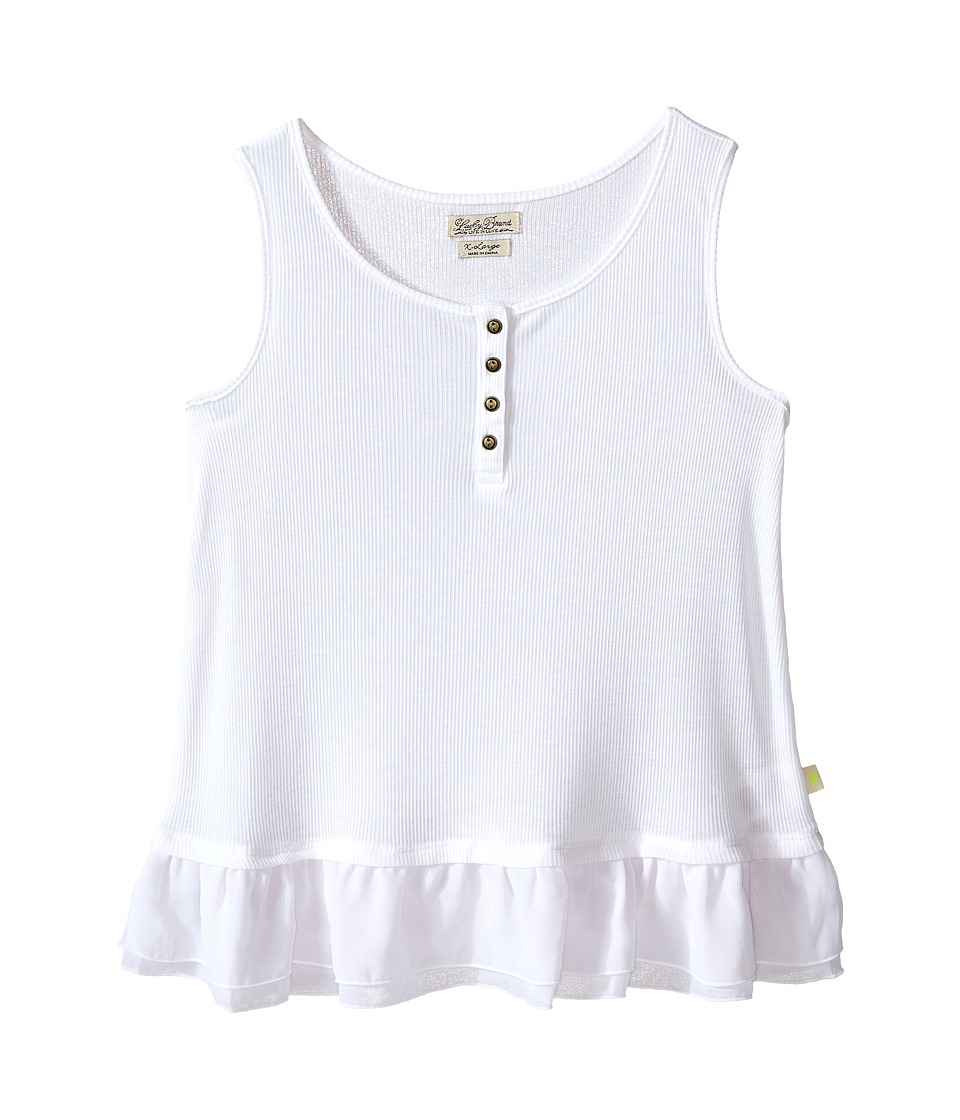 Lucky Brand Kids Dolly Henley Tank Top (Big Kids) (Bright White) Girl