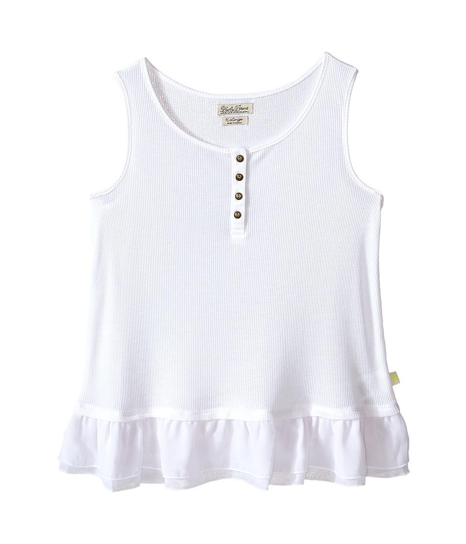 Lucky Brand Kids - Dolly Henley Tank Top (Big Kids) (Bright White) Girl's Sleeveless