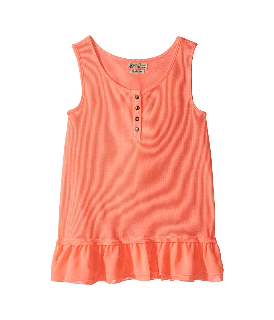 Lucky Brand Kids Dolly Henley Tank Top (Big Kids) (Neon Sunset) Girl
