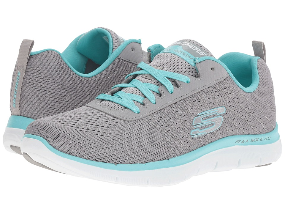 SKECHERS - Flex Appeal 2.0 - Break Free (Gray/Blue) Women's Shoes